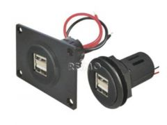 USB-stik 12 / 5V med dobbelt USB 2x2,5A med monteringsplade